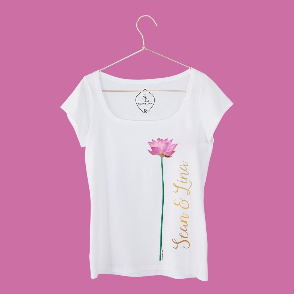 T-Shirt Lotusblume Handwritten Damen vorne SEAN & LINA