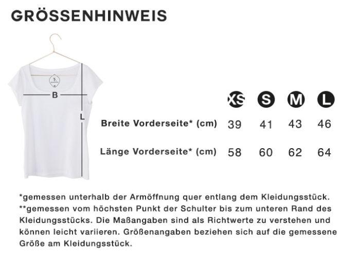 Größenhinweis Größentabelle T-Shirt SEAN & LINA